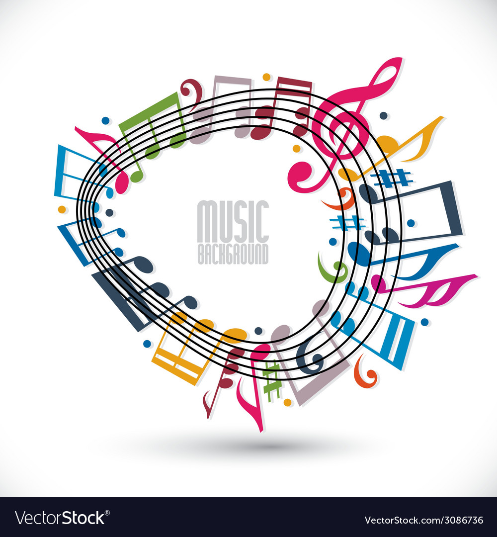 Colorful music background with clef and notes vector | Price: 1 Credit (USD $1)