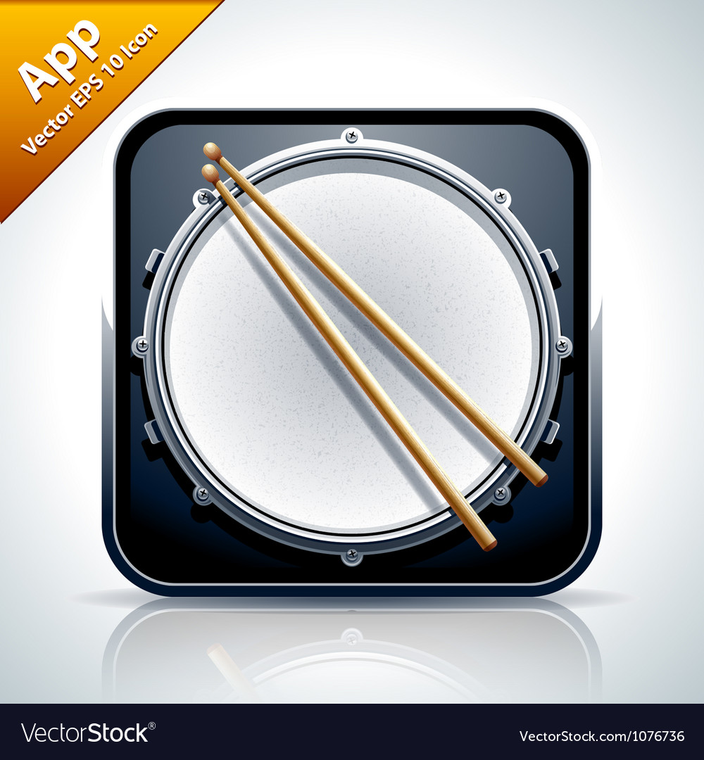 Drum musical app icon vector | Price: 3 Credit (USD $3)
