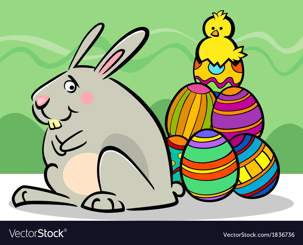 Easter bunny and eggs cartoon vector | Price: 1 Credit (USD $1)