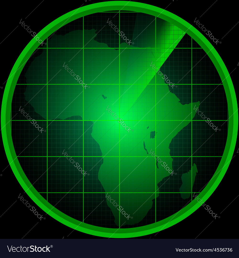 Radar screen with a silhouette of africa vector   Price: 1 Credit (USD $1)