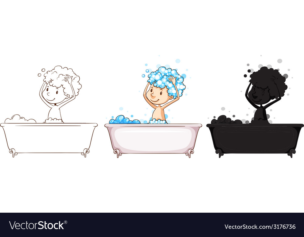 Sketches of a boy taking a bath vector | Price: 1 Credit (USD $1)