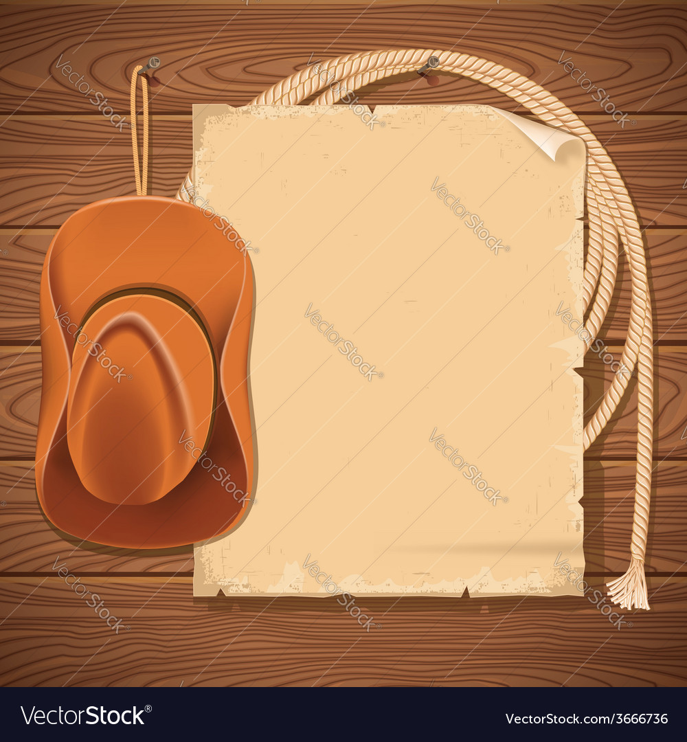 Wild west background with cowboy hat and american vector | Price: 1 Credit (USD $1)