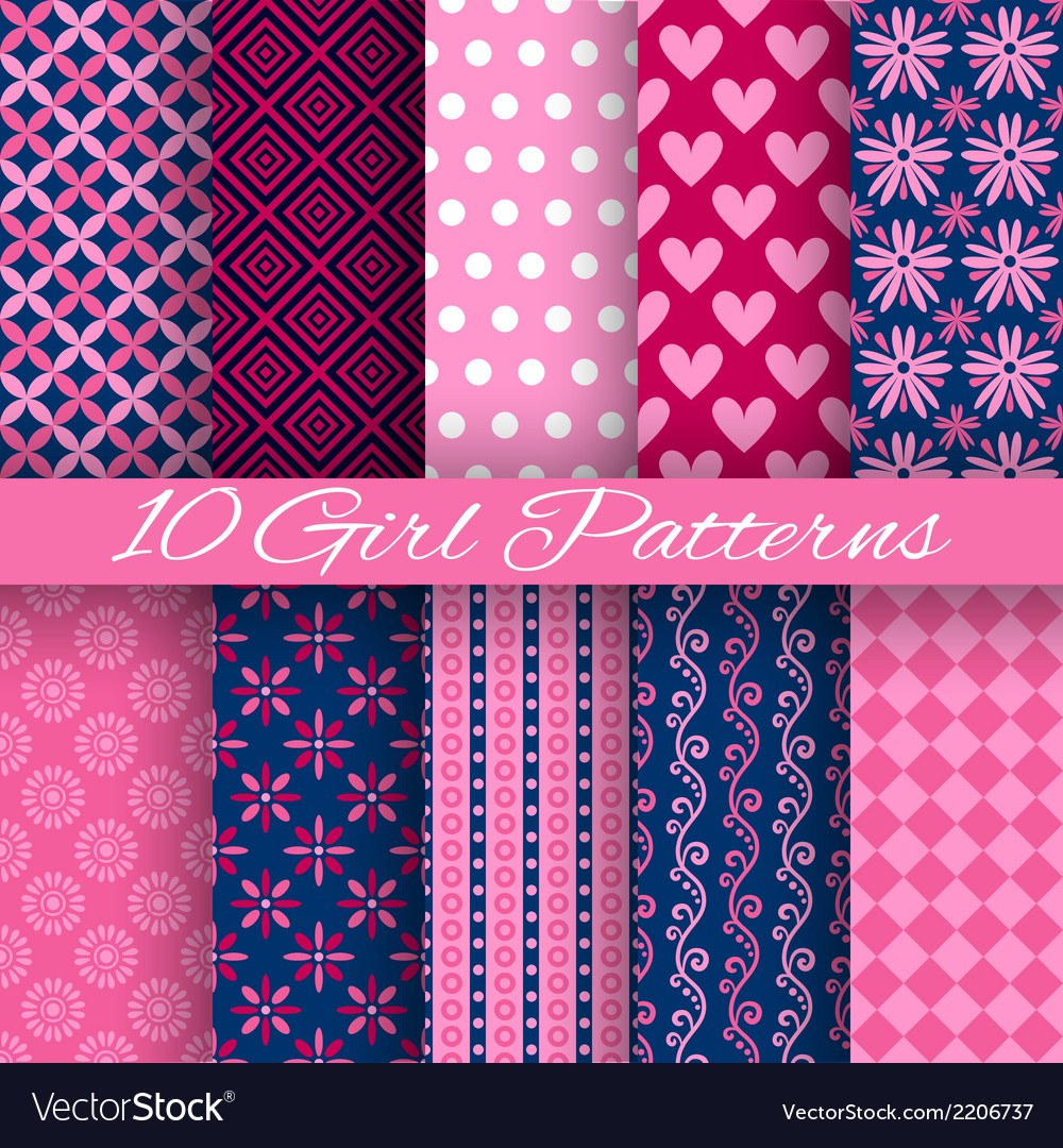 10 bright girl seamless patterns tiling pink and vector | Price: 1 Credit (USD $1)