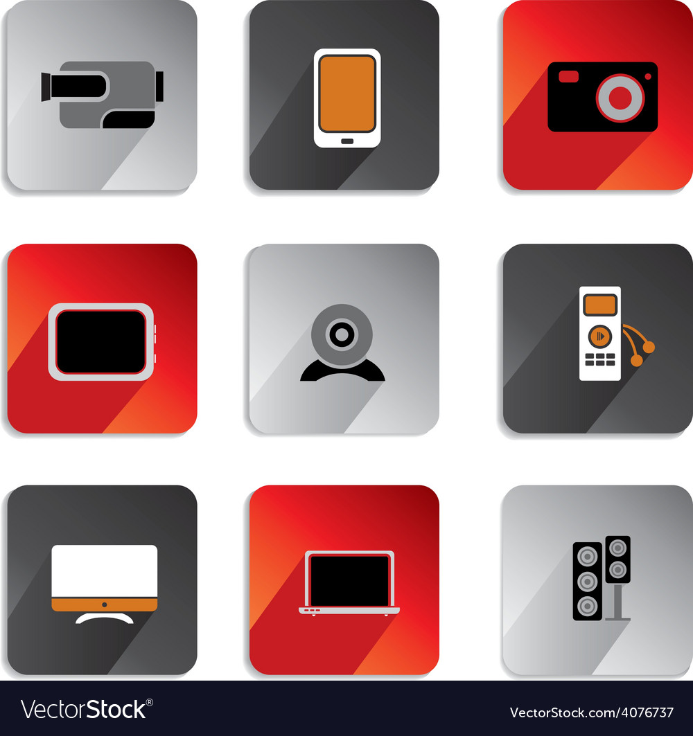 Audio video icons colored vector | Price: 1 Credit (USD $1)