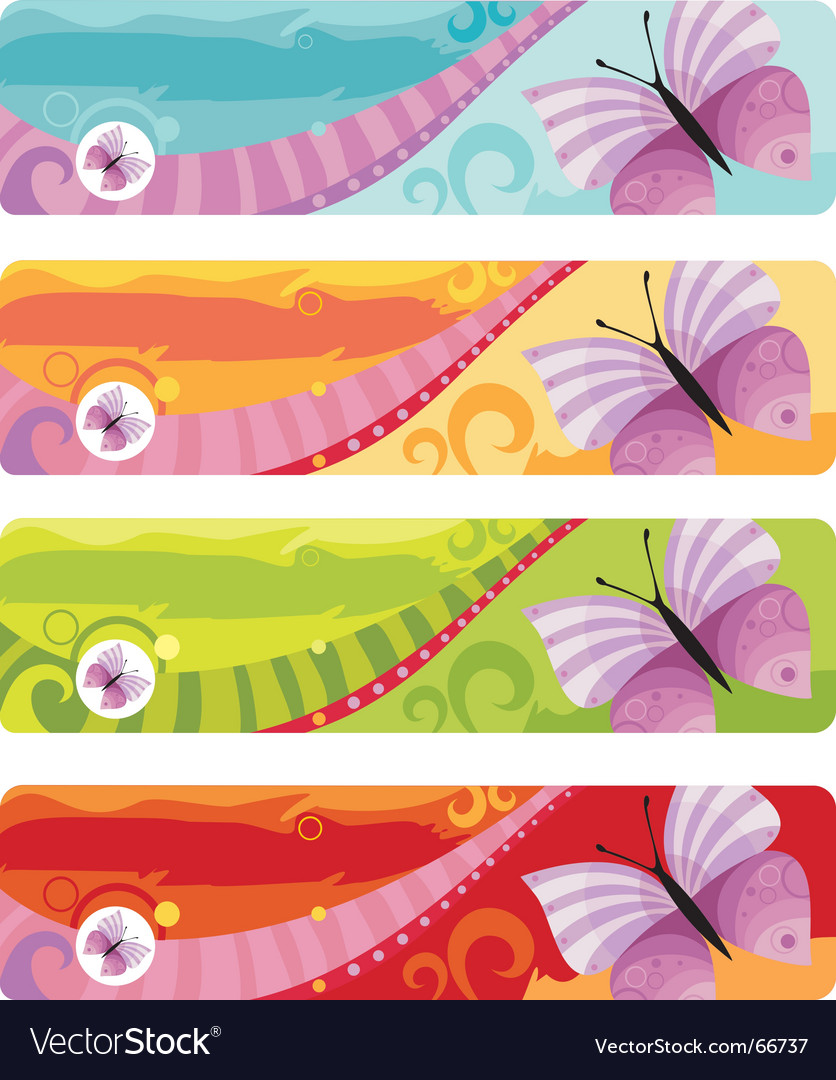 Butterfly banner vector | Price: 1 Credit (USD $1)