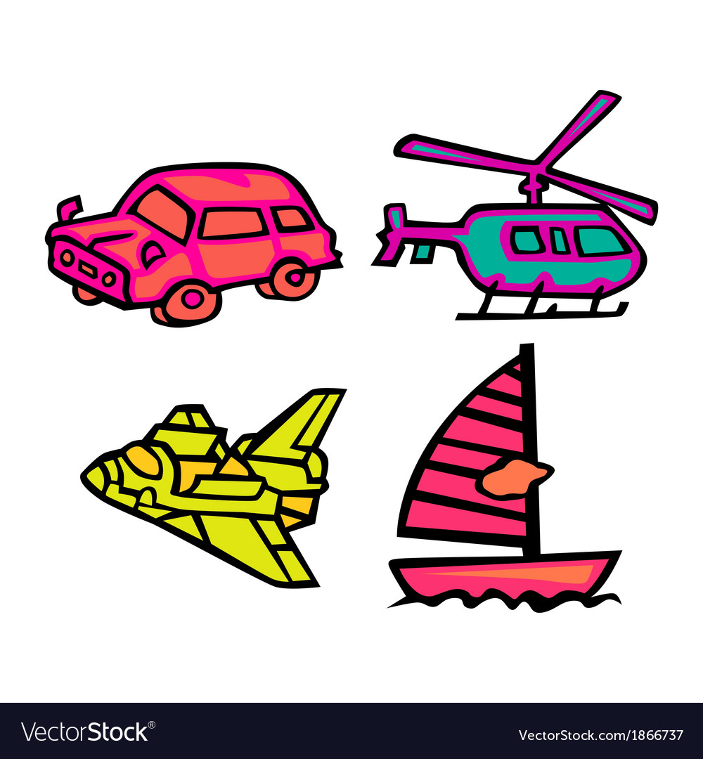 Cute transportation pack vector | Price: 1 Credit (USD $1)
