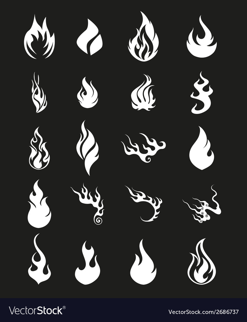 Fire flames set icons symbol vector | Price: 1 Credit (USD $1)
