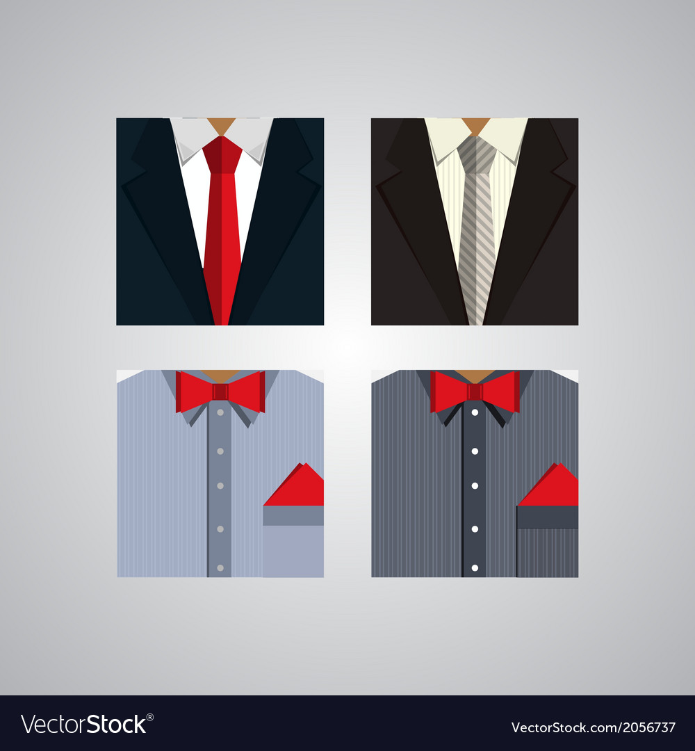 Flat icons for formal wear vector | Price: 1 Credit (USD $1)