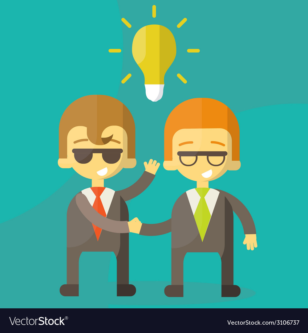 Lamp of idea concept businessman partners vector | Price: 1 Credit (USD $1)