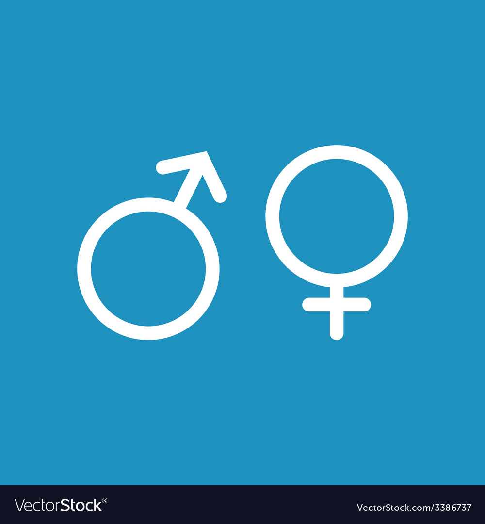 Male and female white icon on blue background vector | Price: 1 Credit (USD $1)
