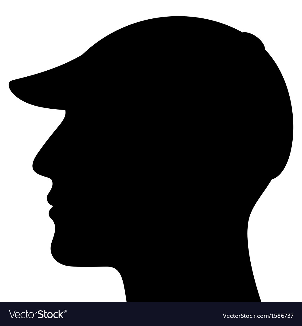Man head silhouette with cap vector | Price: 1 Credit (USD $1)