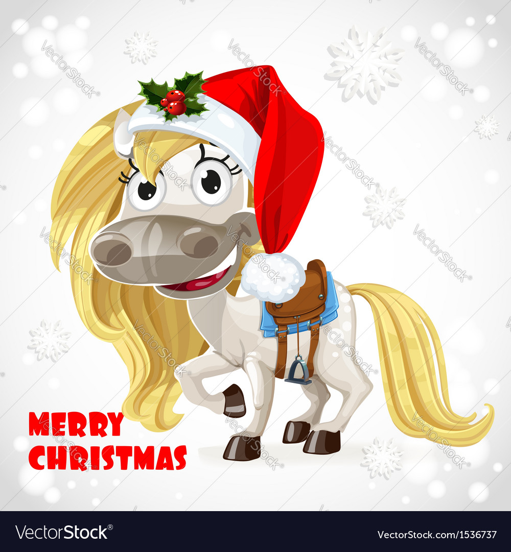 Merry christmas card with cute white baby horse vector | Price: 3 Credit (USD $3)
