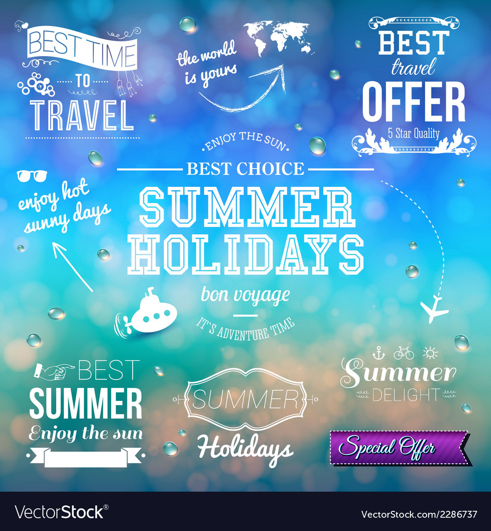 Summer design on blurred background set of vector | Price: 1 Credit (USD $1)