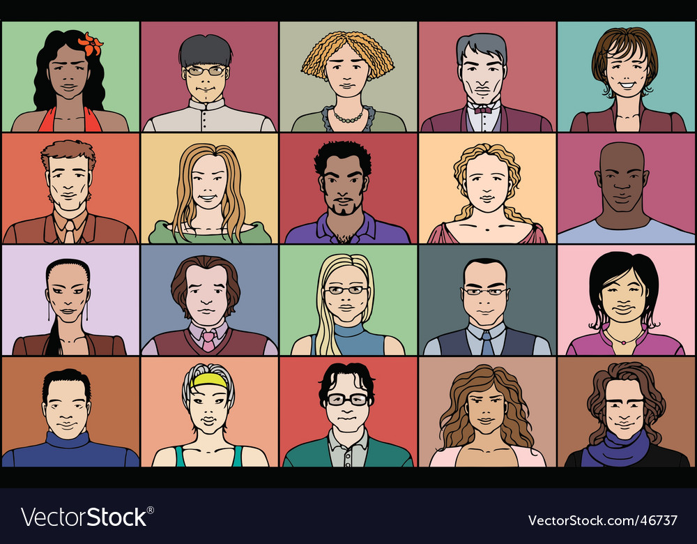 Twenty adult people vector | Price: 3 Credit (USD $3)