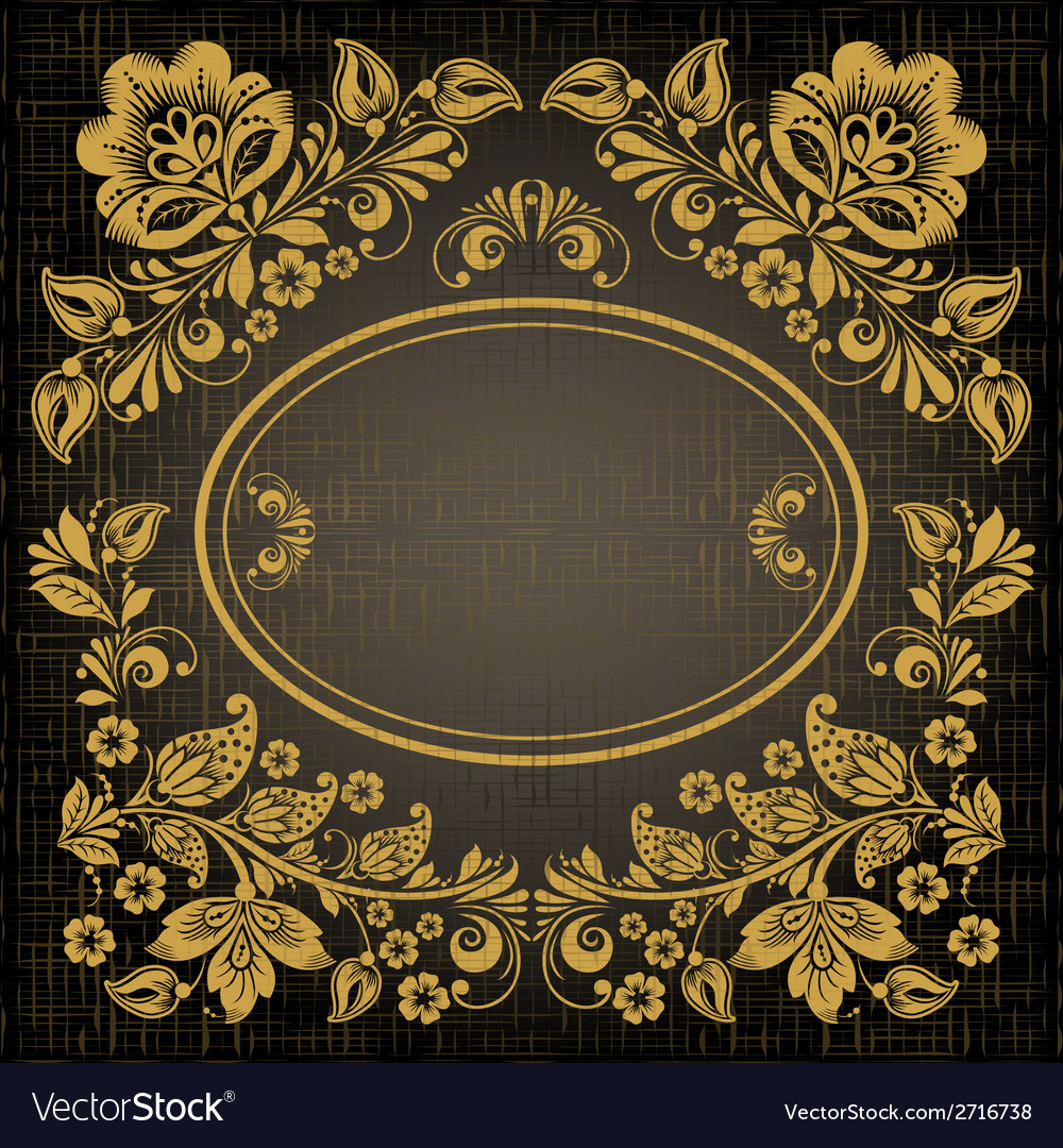 Elegant decorative khokhloma postcard frame vector | Price: 1 Credit (USD $1)