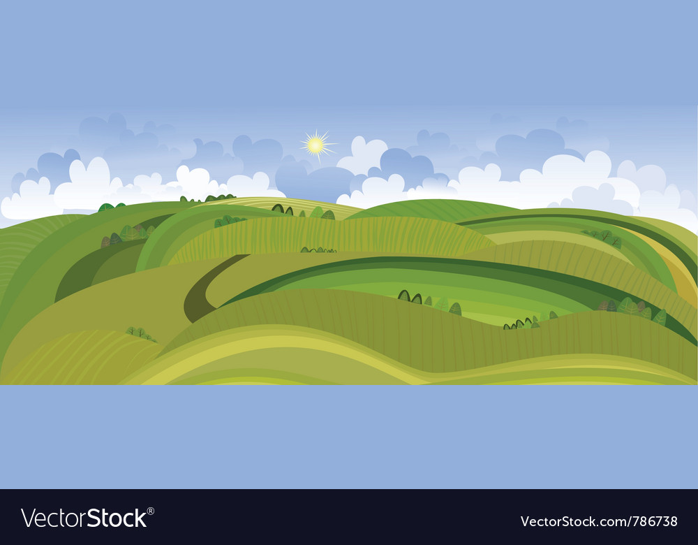 Landscape view of the spring field vector | Price: 1 Credit (USD $1)