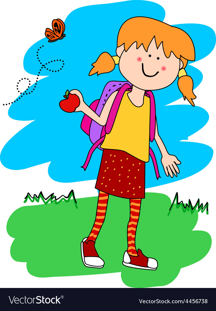 Little girl with backpack and apple vector | Price: 1 Credit (USD $1)