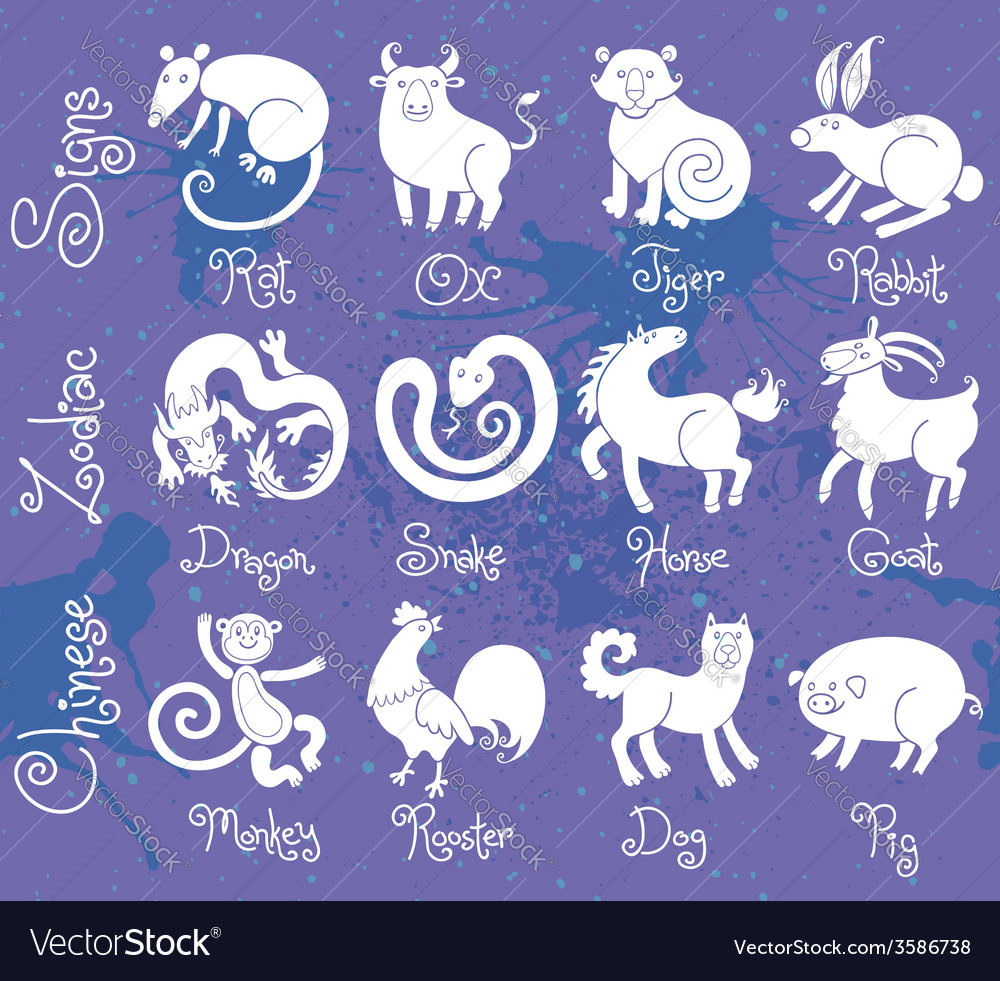 Or icons of all twelve chinese zodiac animals vector | Price: 1 Credit (USD $1)