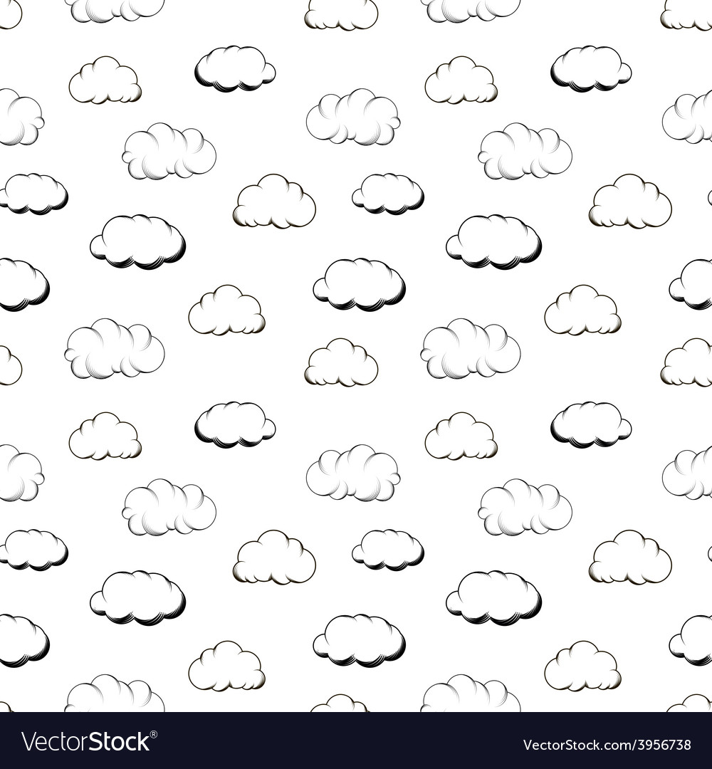 Retro hand engraving clouds on white seamless vector | Price: 1 Credit (USD $1)