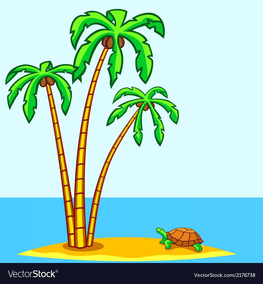 Turtle and palms vector | Price: 1 Credit (USD $1)