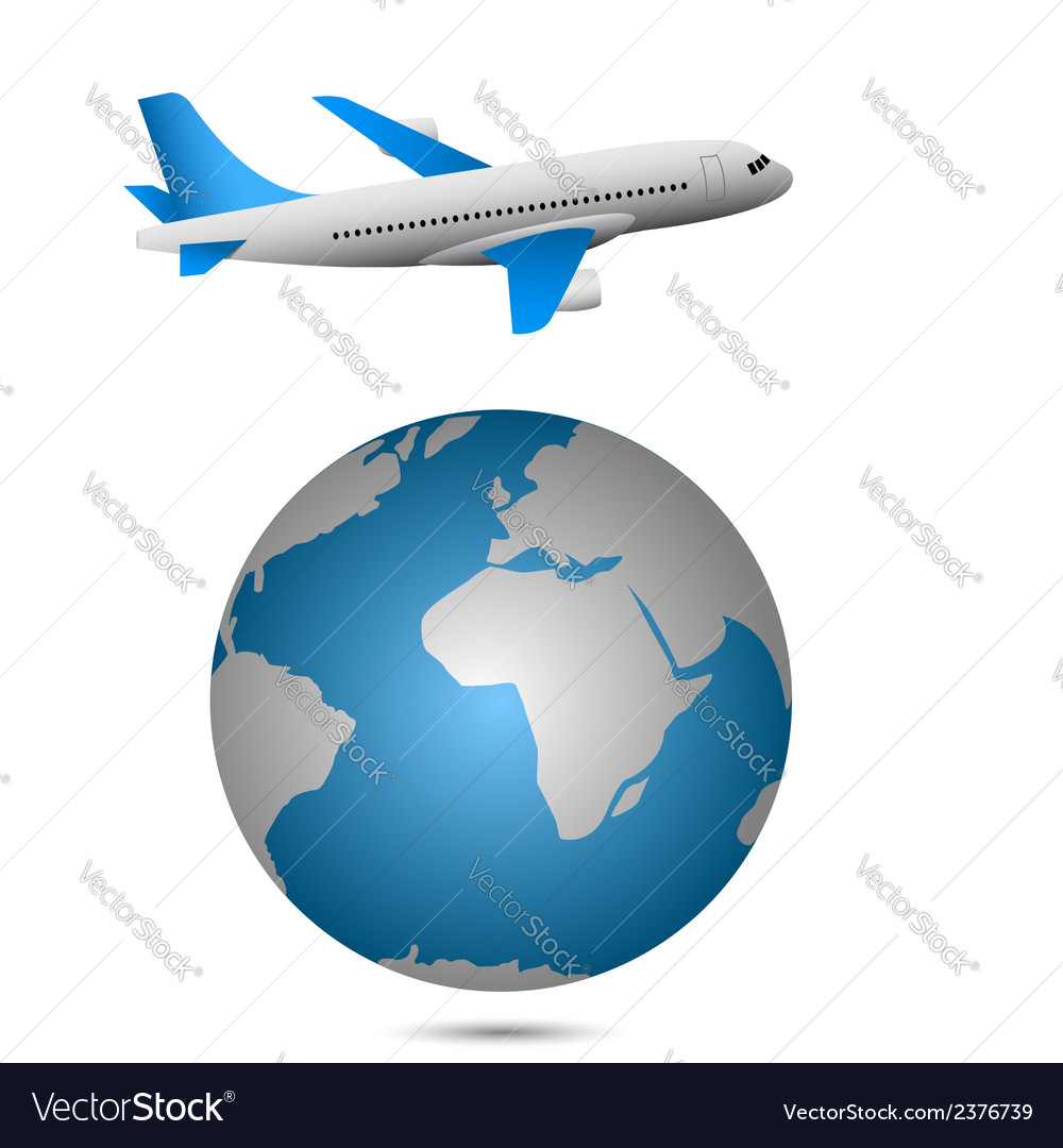 Airplane and globe vector | Price: 1 Credit (USD $1)