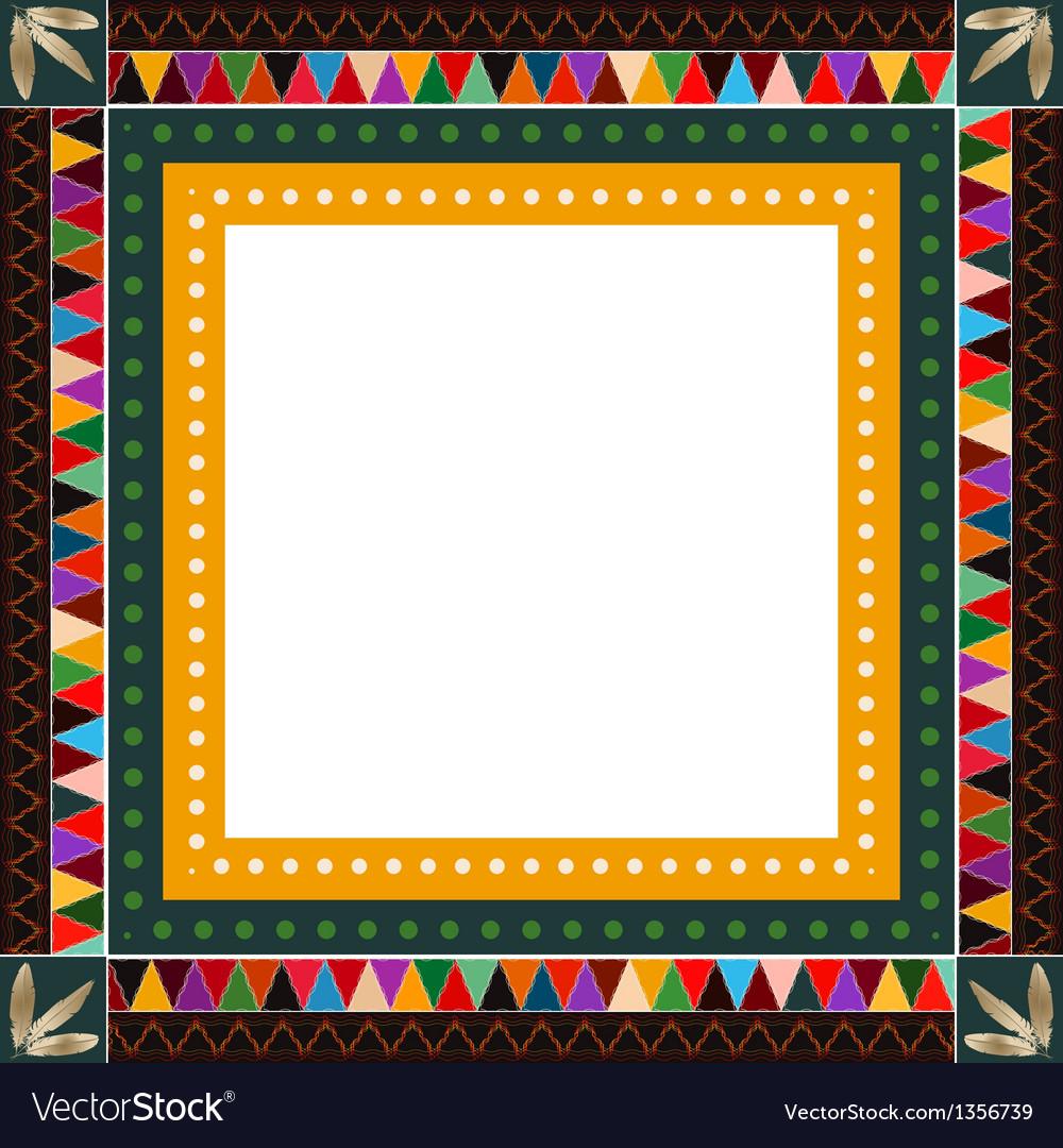 American indian border frame vector