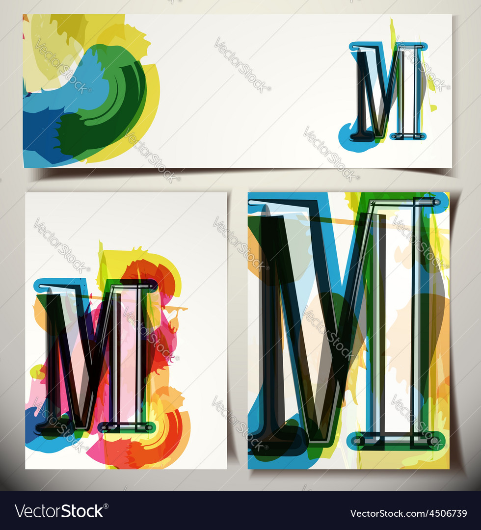 Artistic greeting card letter m vector   Price: 1 Credit (USD $1)