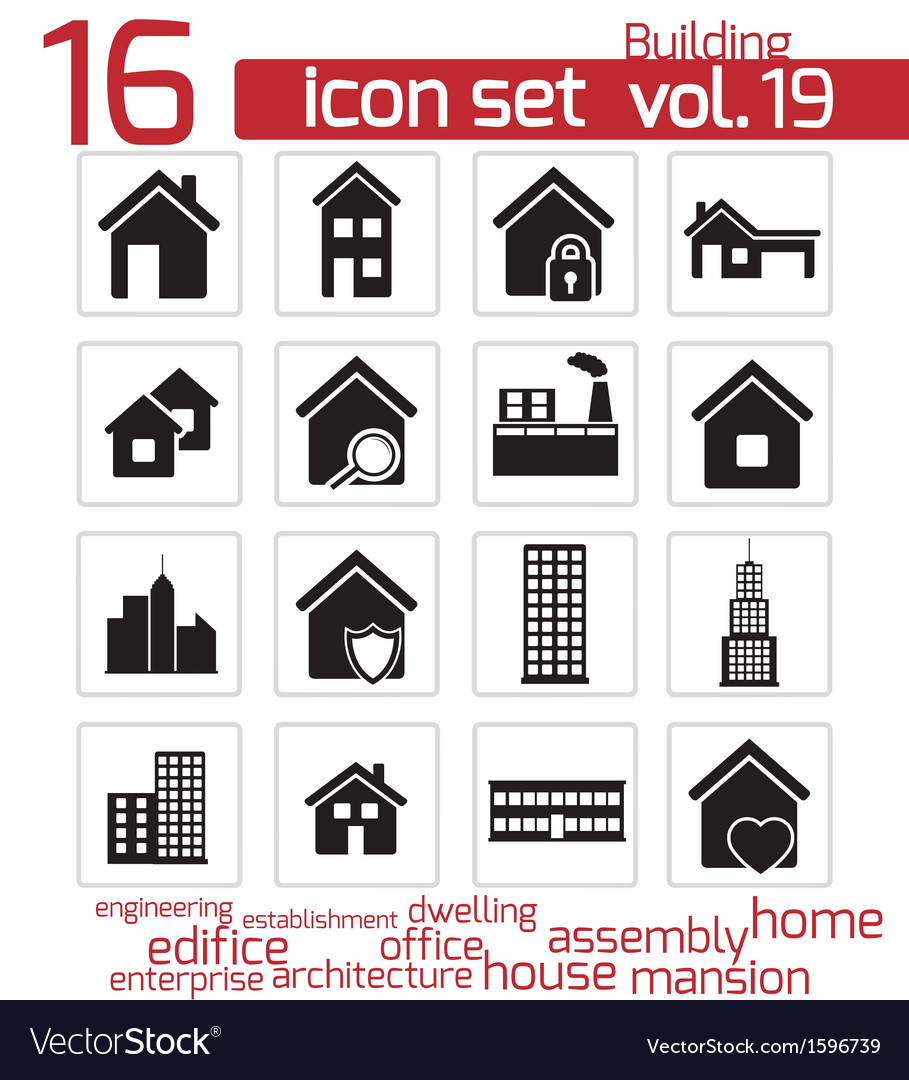 Black building icon set vector | Price: 1 Credit (USD $1)