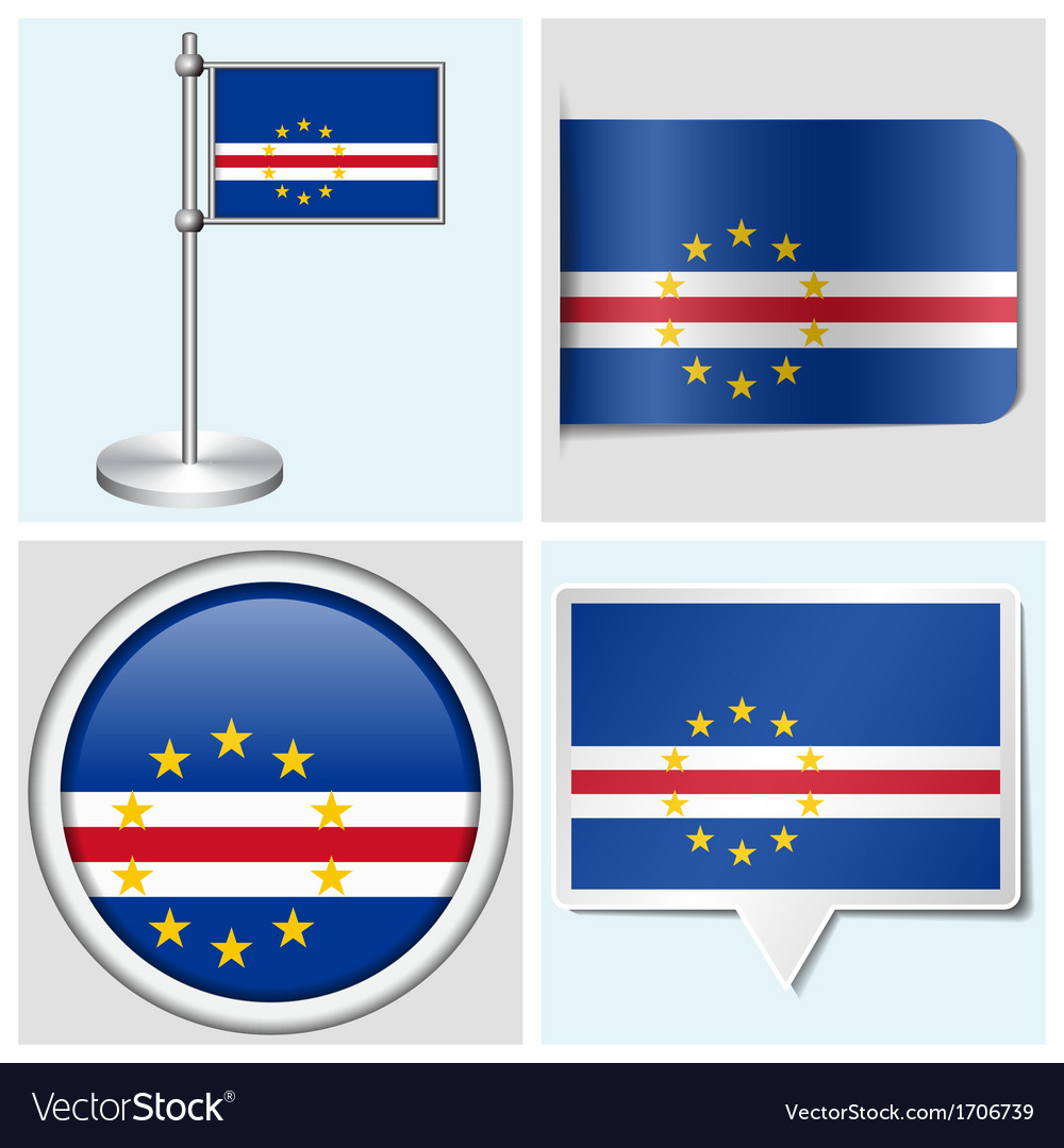 Cape verde flag - sticker button label vector | Price: 1 Credit (USD $1)