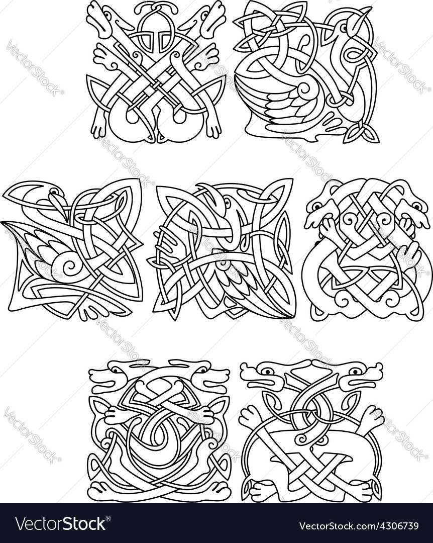 Celtic animals and birds with tribal ornament vector