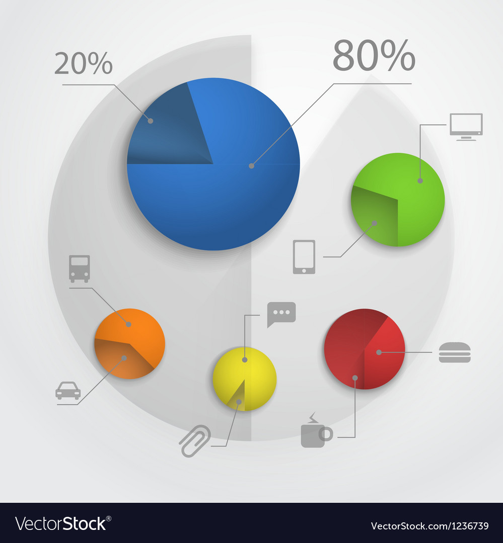 Color pie-chart diagram collection vector | Price: 1 Credit (USD $1)