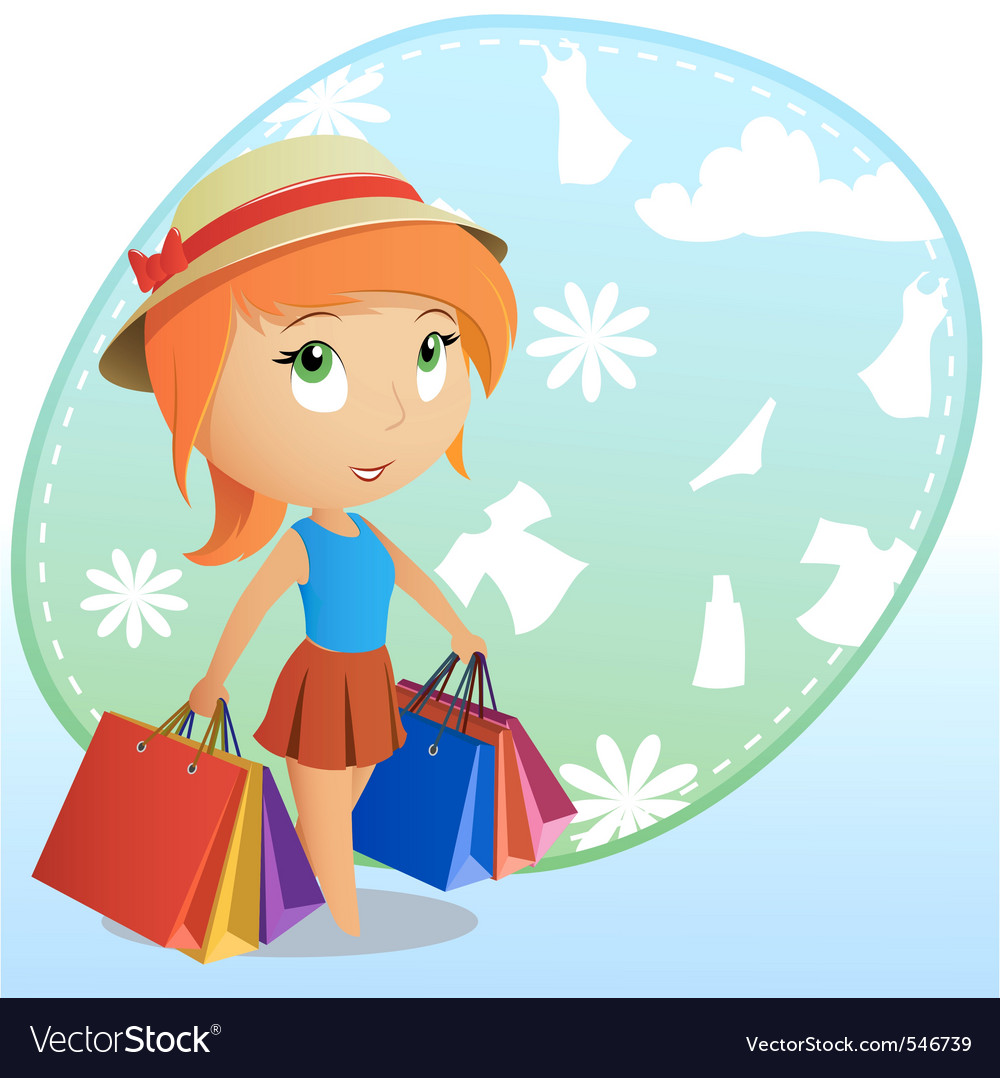 Cute girl shopping vector | Price: 3 Credit (USD $3)