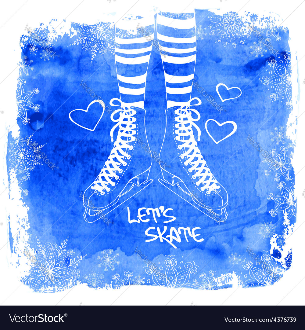 Female legs in skates on a watercolor background vector | Price: 1 Credit (USD $1)