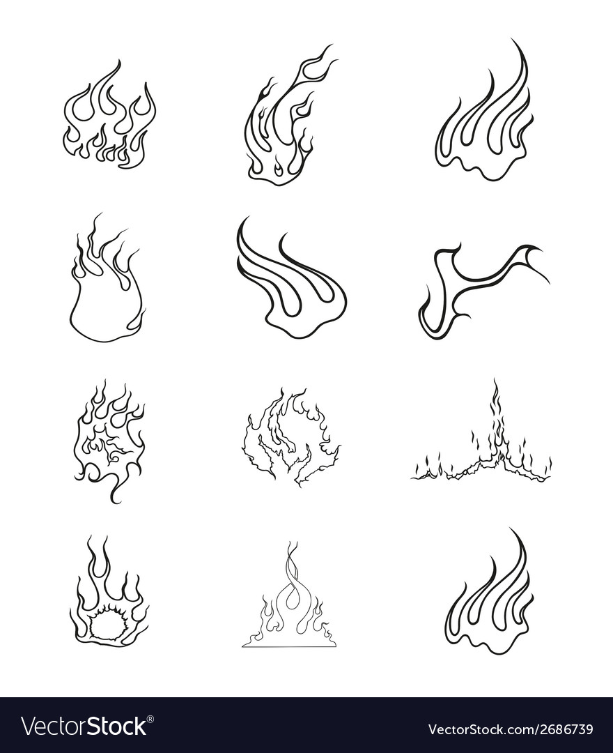 Fire elements outline set vector | Price: 1 Credit (USD $1)
