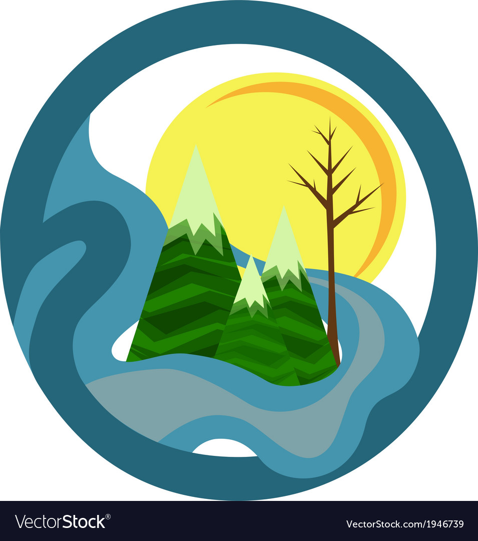 Mountain landscape icon vector | Price: 1 Credit (USD $1)