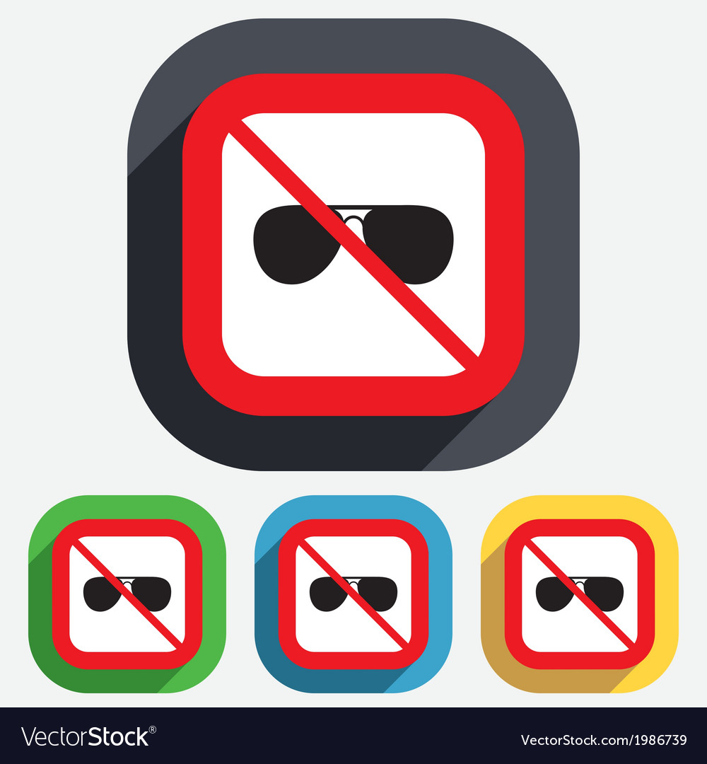 No glasses aviator sunglasses sign icon vector | Price: 1 Credit (USD $1)