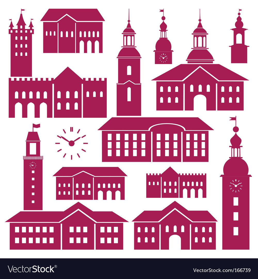 Old town elements vector | Price: 1 Credit (USD $1)