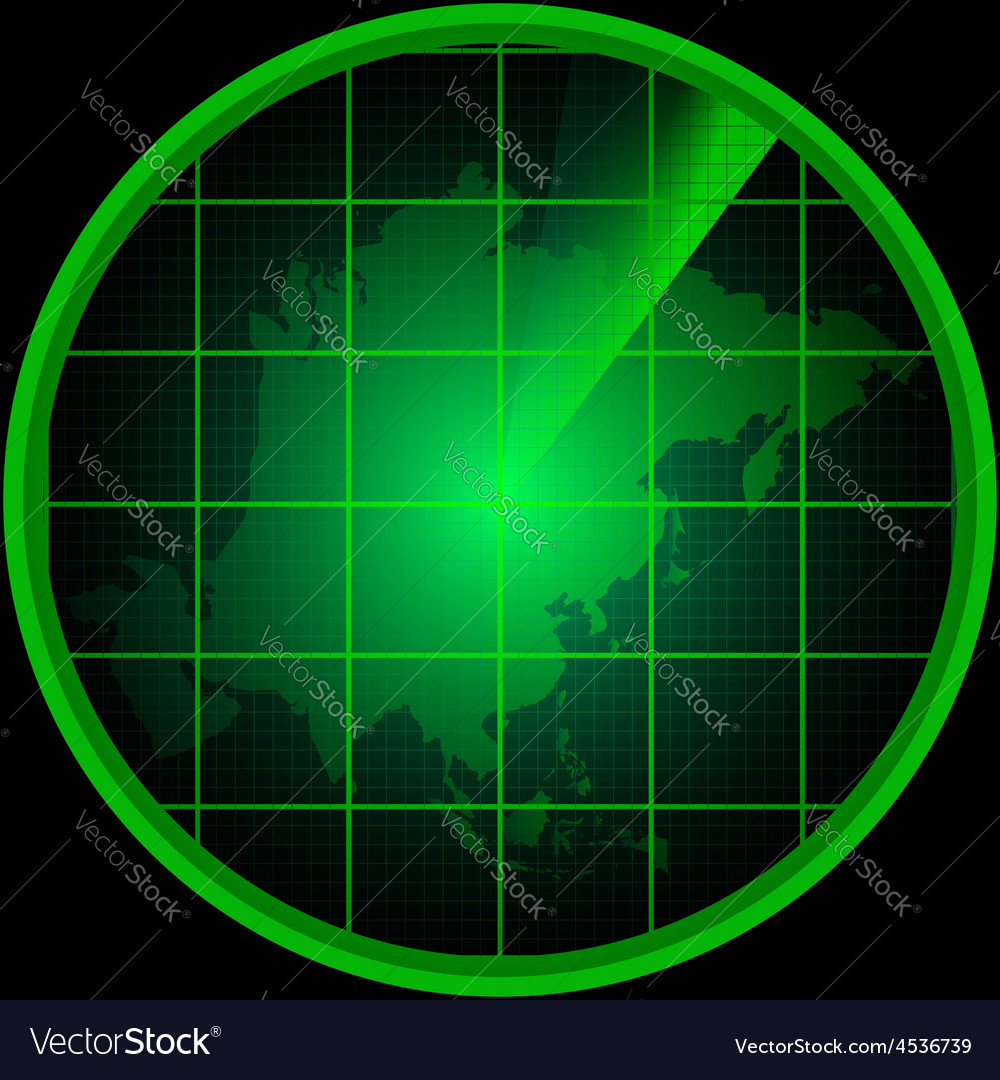 Radar screen with a silhouette of asia vector | Price: 1 Credit (USD $1)