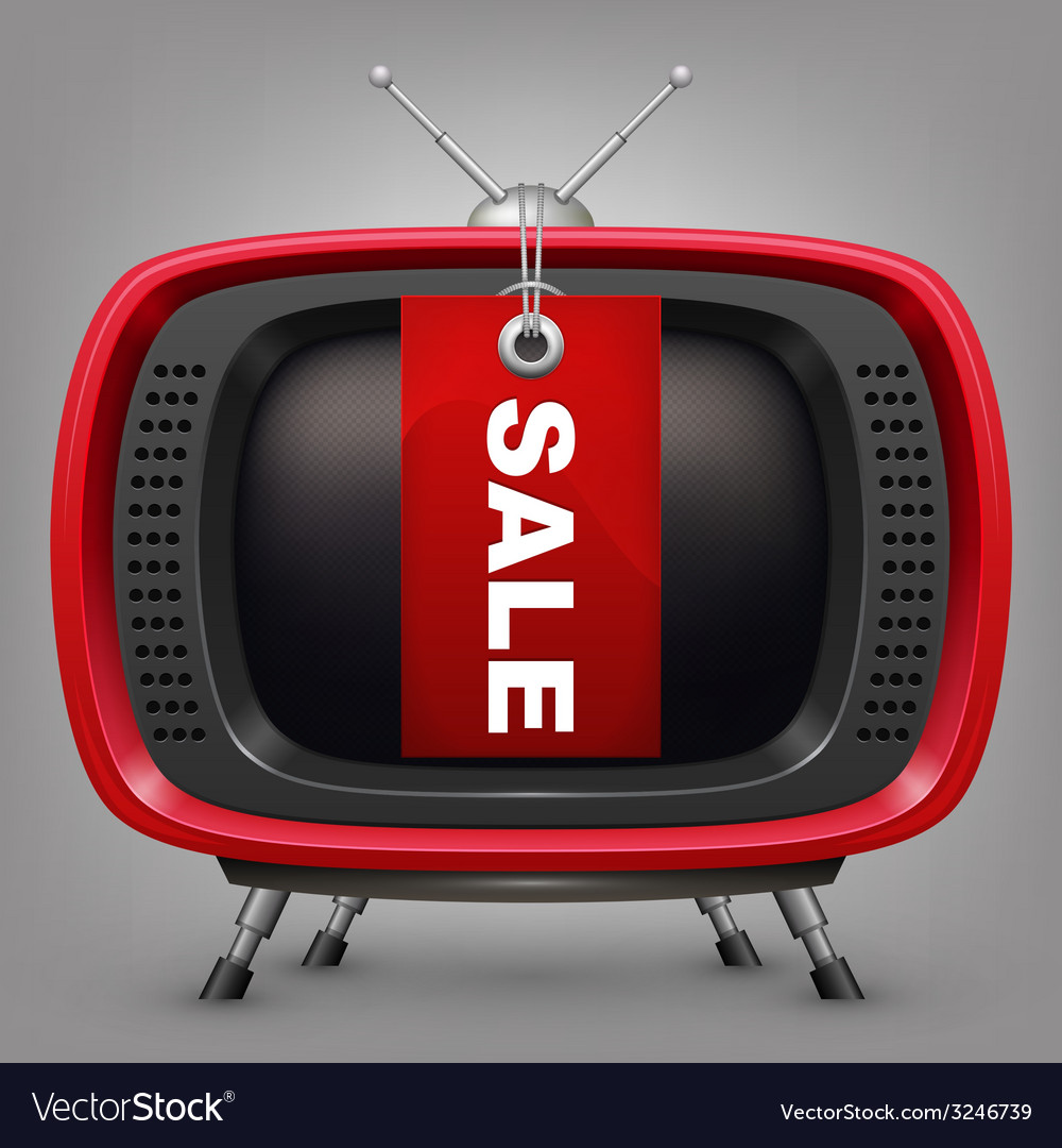 Retro red tv with labal sale vector | Price: 1 Credit (USD $1)