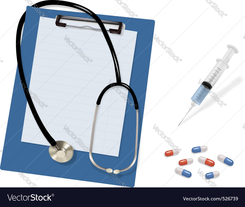 Stethoscope and syringe and kapsul shut vector | Price: 1 Credit (USD $1)