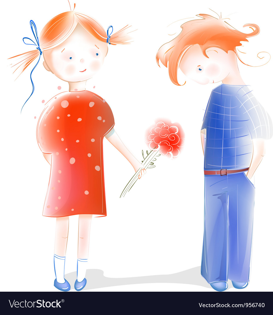 A little girl presenting flowers to a boy vector | Price: 3 Credit (USD $3)