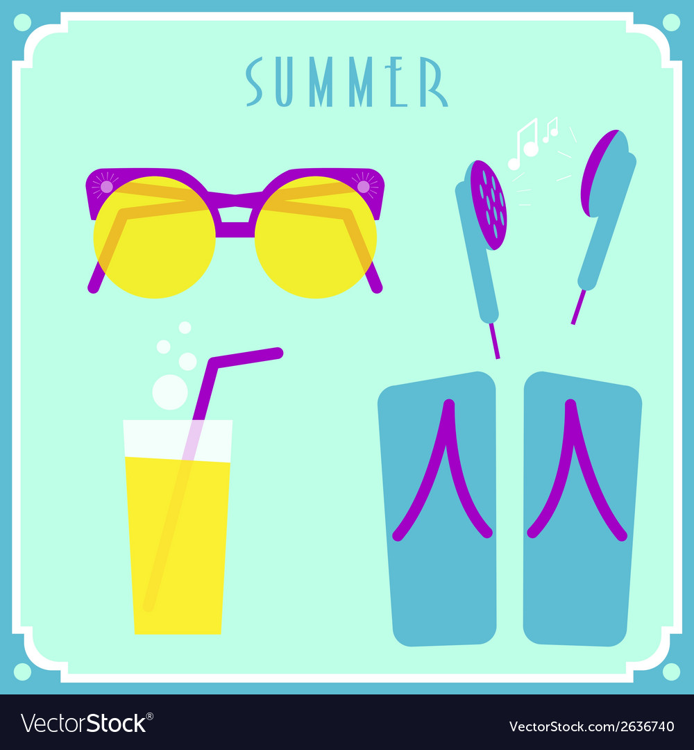 Blue summer card with sunglasses headphones vector | Price: 1 Credit (USD $1)