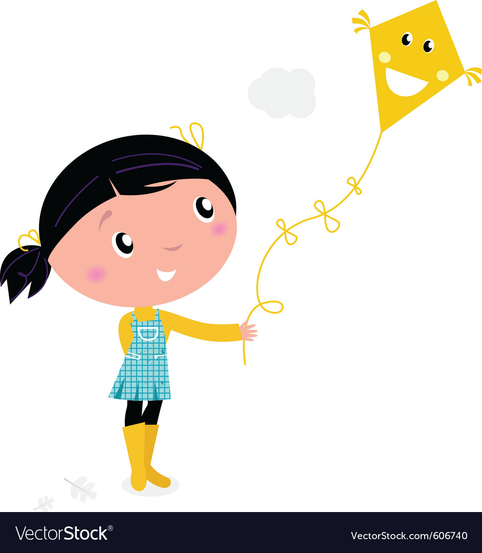 Girl flying kite vector | Price: 1 Credit (USD $1)