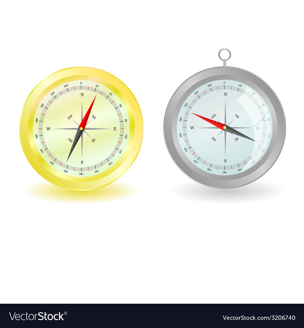 Gold and silver compass illutsration vector | Price: 1 Credit (USD $1)