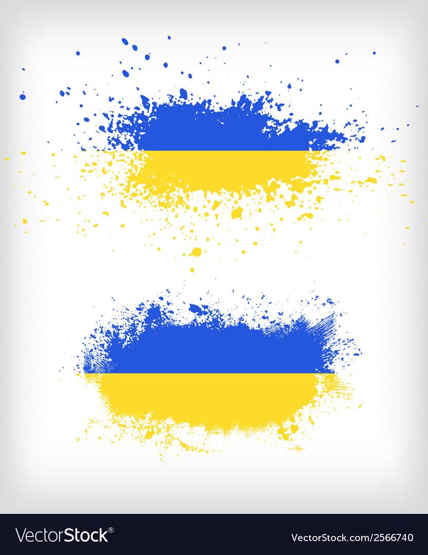 Grunge ukrainian ink splattered flag vector | Price: 1 Credit (USD $1)