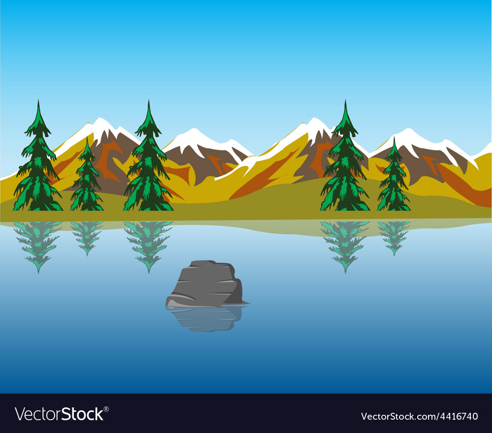 Lake in mountains vector | Price: 1 Credit (USD $1)
