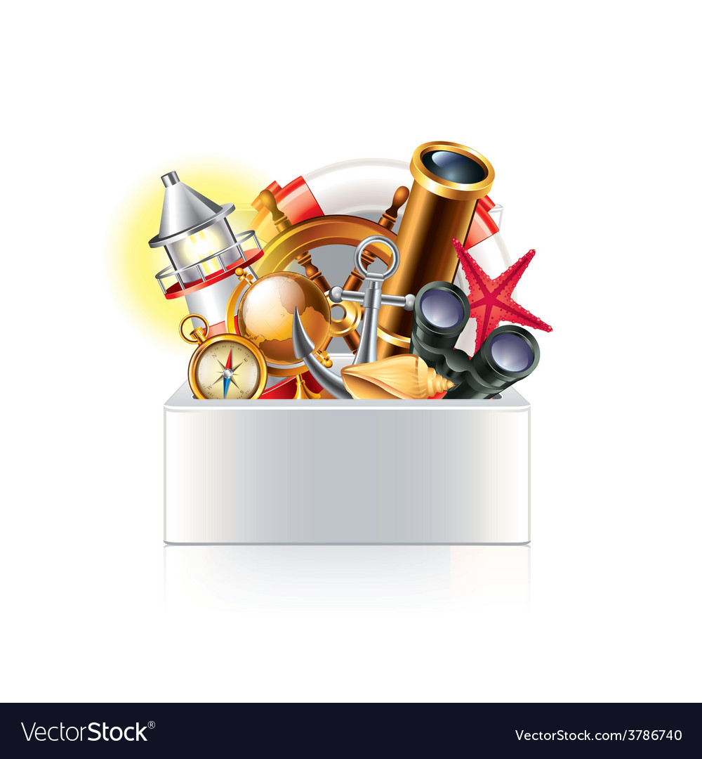 Nautical objects box isolated vector | Price: 3 Credit (USD $3)