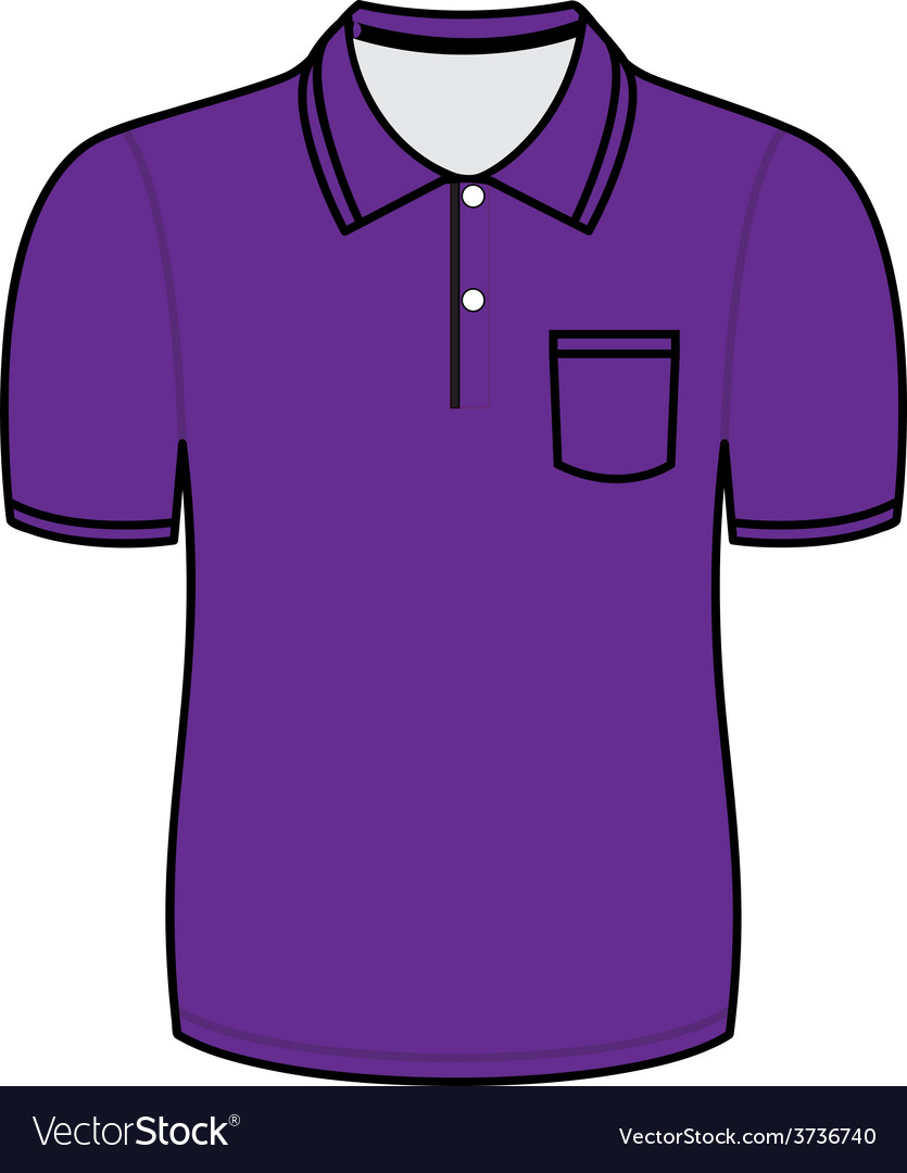 Purple polo shirt outline vector | Price: 1 Credit (USD $1)