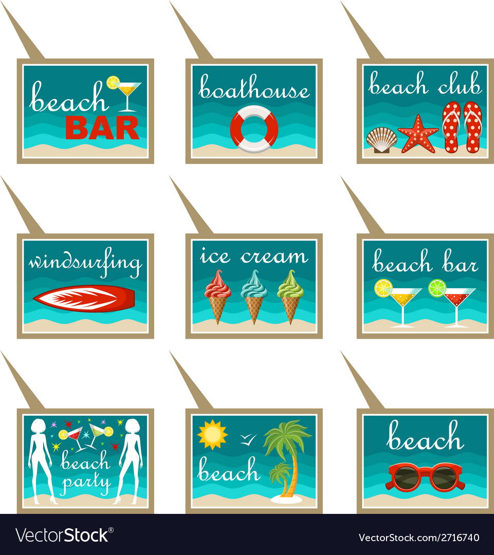 Set of beach map pointers vector | Price: 1 Credit (USD $1)