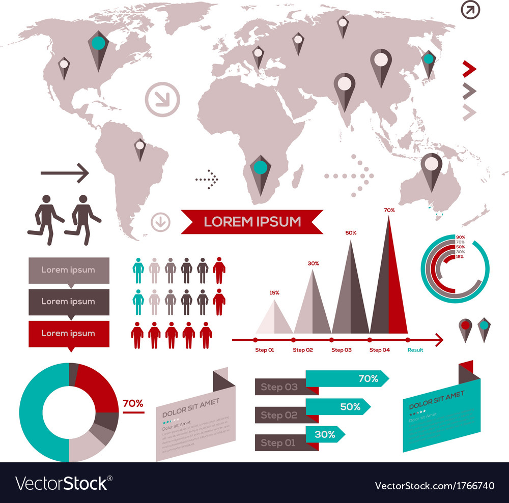 Set of infographic elements with world map vector | Price: 1 Credit (USD $1)